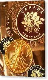 One Troy Ounce Us And Canadian Gold Coins Acrylic Print by Lyle Leduc