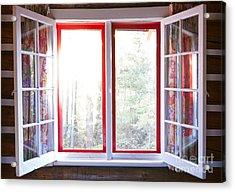 Open Window In Cottage Acrylic Print by Elena Elisseeva