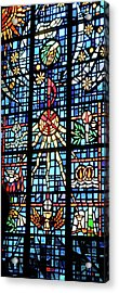 Orange Blue Stained Glass Window Acrylic Print by Thomas Woolworth
