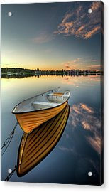 Orange Boat With Strong Reflection Acrylic Print by David Olsson