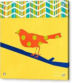 Orange Polka Dot Bird Acrylic Print by Linda Woods