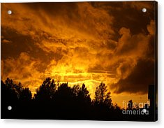 Orange Stormy Skies Acrylic Print by Randy Harris
