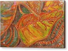 Orange You Glad I Painted Orange Leaf Acrylic Print by Anne-Elizabeth Whiteway