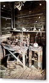 Ore Assay Shop Work Bench - Molson Ghost Town Acrylic Print by Daniel Hagerman