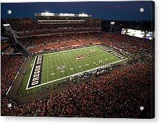 Oregon State Night Game At Reser Stadium Acrylic Print by Oregon State University