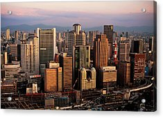 Osaka City Downtown Umeda Acrylic Print by Paul Hillier Photography (www.paulhillier.com)