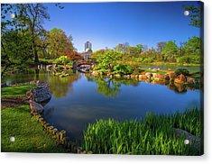 Osaka Garden Pond Acrylic Print by Jonah  Anderson