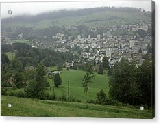 Ovehead View Of Houses From The Gondola Starting At Kriens In Switzerland Acrylic Print by Ashish Agarwal
