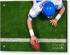 Overhead American Football Player One Handed Touchdown Acrylic Print by Richard Thomas