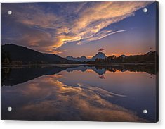 Ox Bow Bend Sunset Acrylic Print by Joseph Rossbach