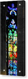 Painted Glass - Alfons Mucha  - St. Vitus Cathedral Prague Acrylic Print by Christine Till