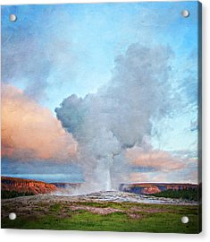 Painterly Old Faithful, Yellowstone National Park Acrylic Print by Trina Dopp Photography