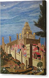 Painting   Medieval City Acrylic Print by Judy Via-Wolff