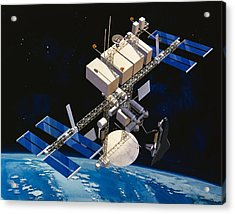 Painting Of Space Station Orbiting Earth Acrylic Print by Stocktrek