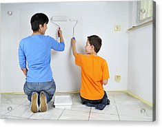 Paintwork - Mother And Son Painting Wall Together Acrylic Print by Matthias Hauser
