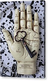 Palm Reading Hand And Key Acrylic Print by Garry Gay