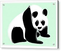 Panda On Green Acrylic Print by Michelle Bergersen