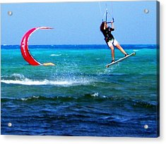 Para Surfing In Cozumel Mexico Acrylic Print by Danielle  Parent