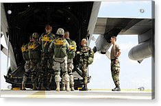 Paratroopers Gather Around The Back Acrylic Print by Stocktrek Images