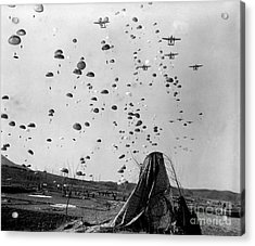Paratroopers Jump From From C-119s Acrylic Print by Stocktrek Images