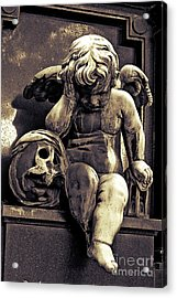 Paris Gothic Angel Cemetery Cherub - Cherub And Skull Pere Lachaise Cemetery Acrylic Print by Kathy Fornal