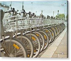Paris Bikes Acrylic Print by Georgia Fowler
