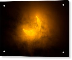 Partial Solar Eclipse Through Fog Acrylic Print by Greg Nyquist