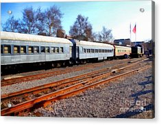 Passenger Trains At The Old Sacramento Train Depot . 7d11623 Acrylic Print by Wingsdomain Art and Photography