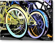 Pastel Bicycle Pop Art Acrylic Print by ArtyZen Studios