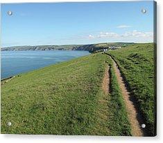 Path Along Coastline Port Isaac Cornwall Acrylic Print by Thepurpledoor