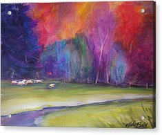 Peaceful Pastoral Sheep Acrylic Print by Therese Fowler-Bailey