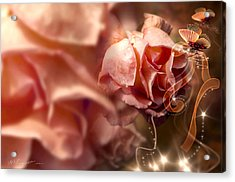Peach Roses And Ribbons Acrylic Print by Svetlana Sewell