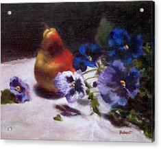 Pear With  Purple Pansies Acrylic Print by Jill Brabant