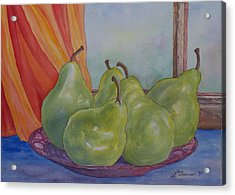 Pears At The Window Acrylic Print by Laurel Thomson