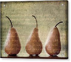 Pears To Be Acrylic Print by Linde Townsend