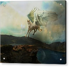 Pegasus Flying Horse Acrylic Print by Patricia Ridlon