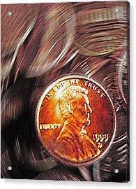 Pennies Abstract 2 Acrylic Print by Steve Ohlsen