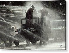 People Are Sprayed At The Water Acrylic Print by James L. Stanfield