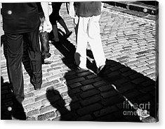 People Walking Along The Cobbled Streets Of Castle Hill Edinburgh Scotland Uk United Kingdom Acrylic Print by Joe Fox
