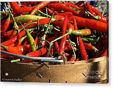 Peppers And More Peppers Acrylic Print by Susan Herber