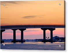 Perdido Bridge Sunrise Closeup Acrylic Print by Michael Thomas