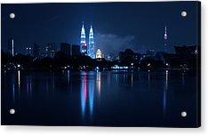 Petronas Towers Taken From Lake Titiwangsa In Kl Malaysia. Acrylic Print by Zoe Ferrie