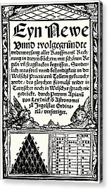 Petrus Apianus's Pascal's Triangle, 1527 Acrylic Print by
