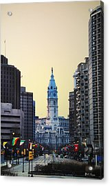 Philadelphia Cityhall At Dawn Acrylic Print by Bill Cannon