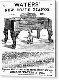 Piano Advertisement, 1874 Acrylic Print by Granger