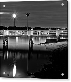 Picketted Jetty Acrylic Print by Mark Lucey