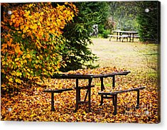 Picnic Table With Autumn Leaves Acrylic Print by Elena Elisseeva