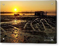 Pier At Sunset Acrylic Print by Carlos Caetano