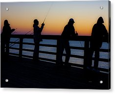 Pier Fishing At Dawn II Acrylic Print by Betsy Knapp