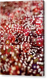 Pile Of Dice At A Casino, Las Vegas, Nevada Acrylic Print by Christian Thomas